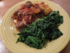 Sausage Meatballs with Mashed Cauliflower and Rapini