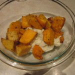 Leftover mashed cauliflower, mashed with roasted squash.