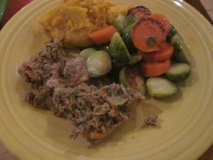 Meatloaf with Carrots and Brussels Sprouts, and leftovers!